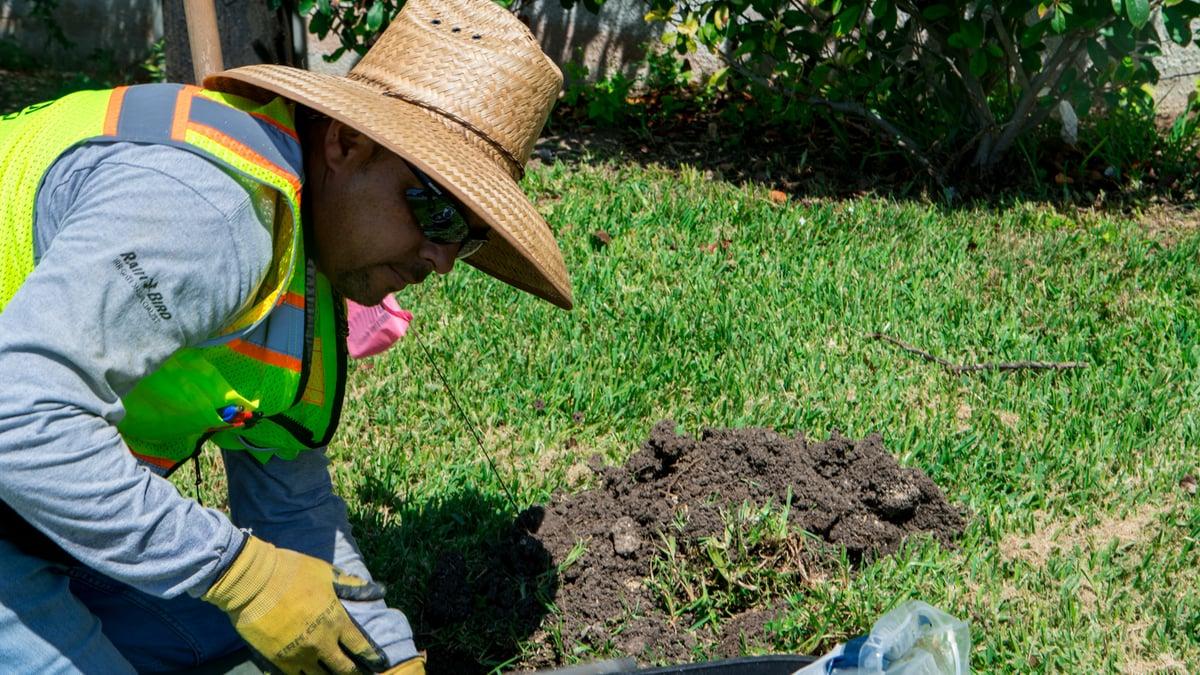 irrigation repair at model home