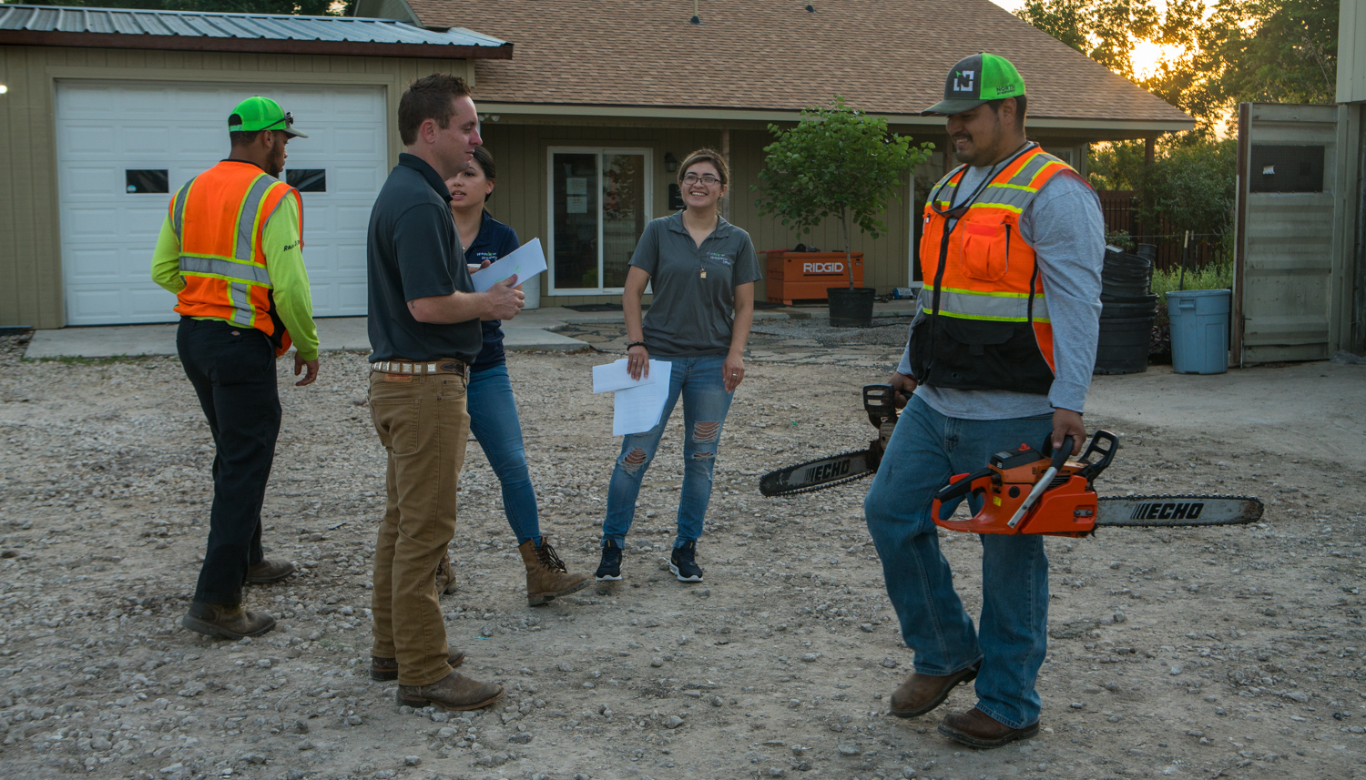 polite commercial landscaping design and construction crew