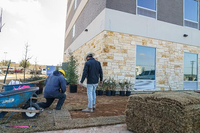 Turf installation at Tru and Home2 Suites By Hilton