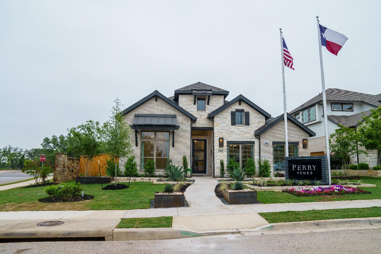 Model home landscape in Austin, TX