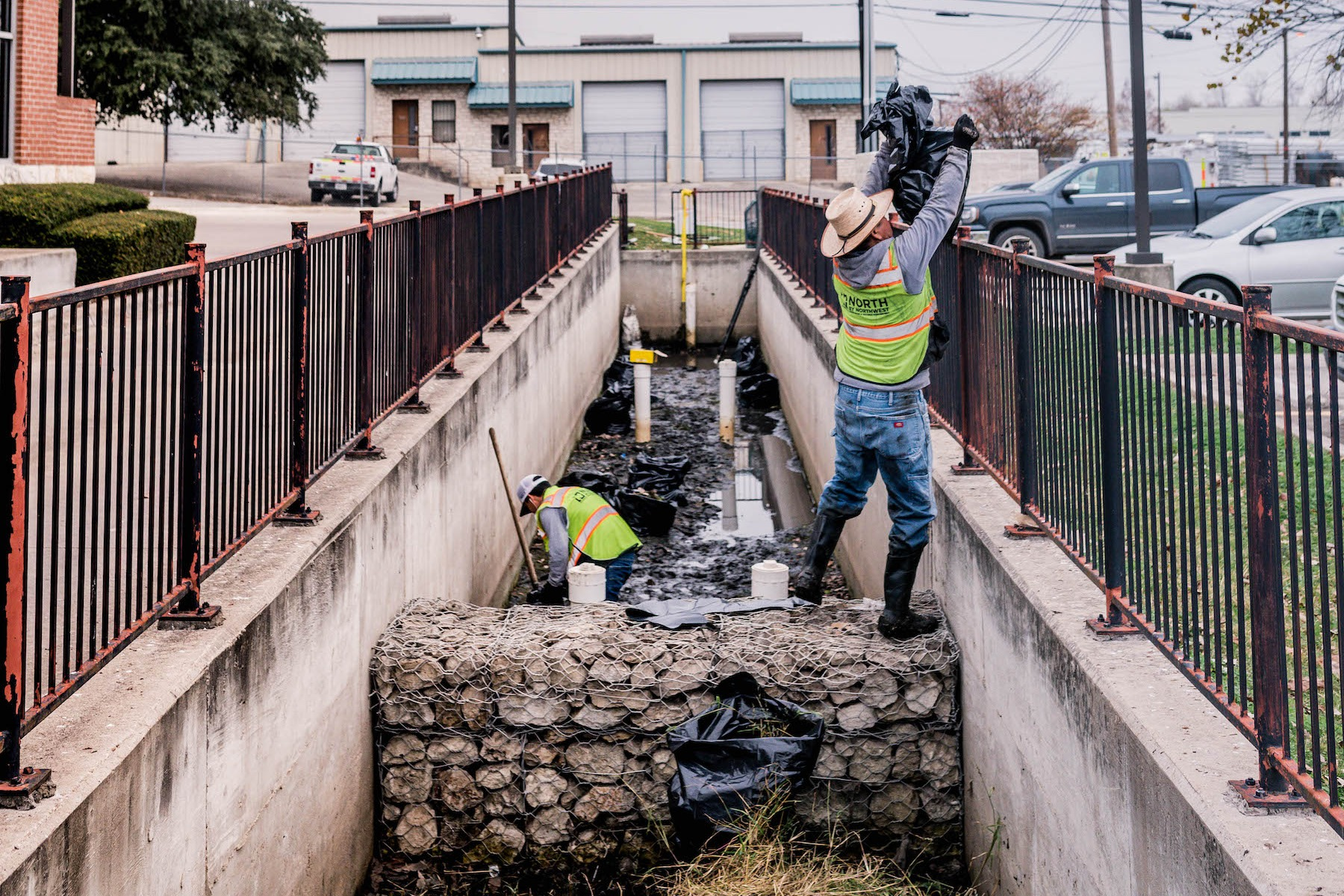 Detention basin being repaired at Austin Chase Bank