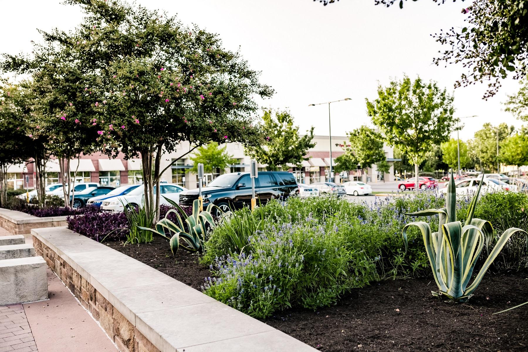 Landscape enhancements at retail center